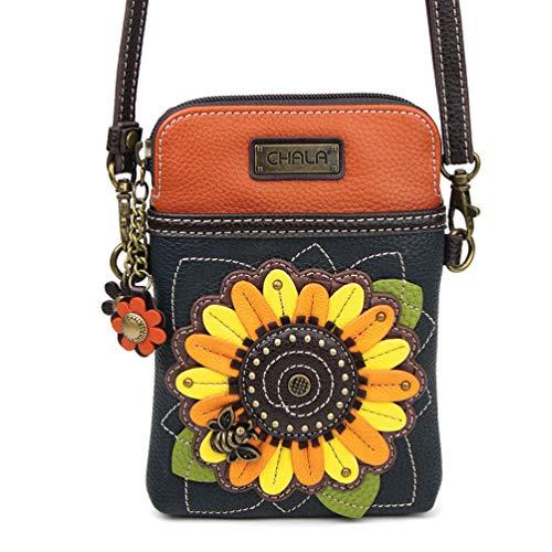 Chala Crossbody Cell Phone Purse - Women PU Leather Multicolor Handbag with Adjustable Strap - Sunflower Navy