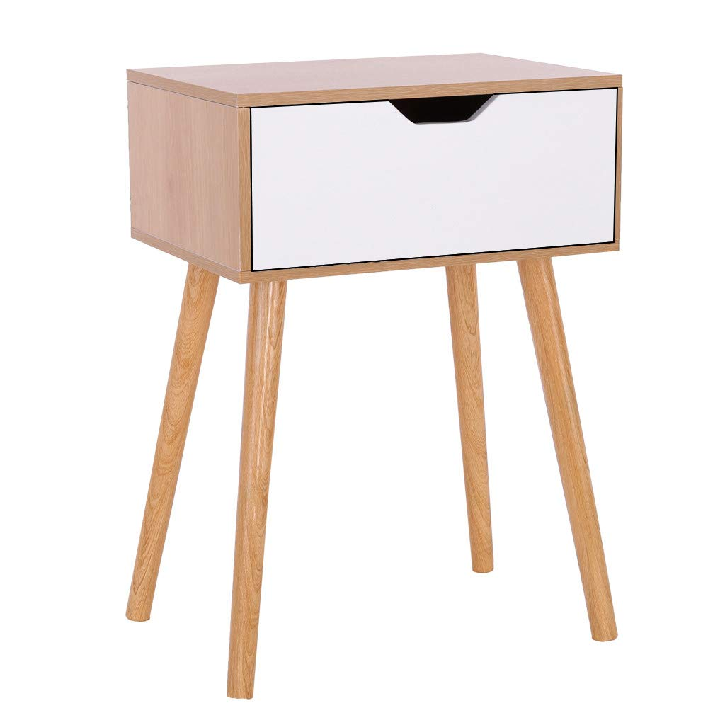 Stylish Night Stand with 2 Fabric Drawers, CSSD Bedside Table Bedroom Side Table, Modern Accent Table, Sturdy and Easy Assembly Tables(Ship from US) (B(1 Drawers))