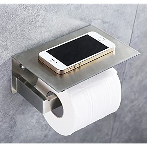 Beau Toilet Paper Holder, APL SUS304 Stainless Steel Bathroom Paper Tissue  Holder With Mobile Phone Storage Shelf Rack Brushed Nickel