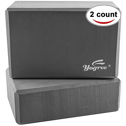 yogree (2-PC Yoga Blocks, 9'x6'x4' - High Density EVA Foam Brick Provides Stability Balance & Support, Improve Strength and Deepen Poses - Great for Yoga, Pilates, Workout, Fitness & Gym (Grey)
