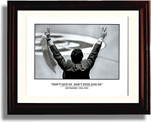 Framed Jim Valvano Don't Ever Give Up Print - NC State Wolfpack