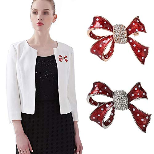 2 PCS Stylish Alloy Bowknot with White Dot Decoration and Rhinestone Inlay Brooch Neckchief Overcoat Breastpin Scarves Shawl Sweater Collar Corsage Ornament Garment Accessories (Silver and Gold) from Happyupcity