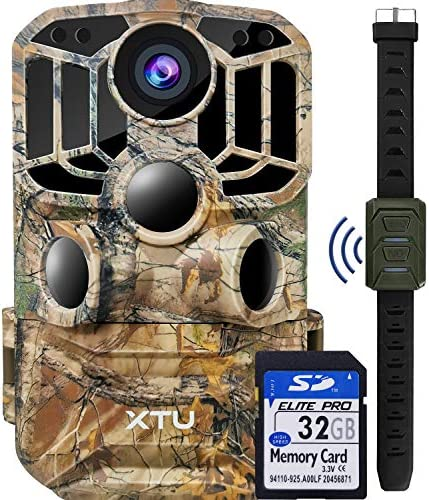 XTU WiFi Trail Camera 24MP 1296P Game Deer Hunting Camera with Infrared Night Vision Motion Activated Waterproof for Wildlife Monitoring, 32GB SD Card Included