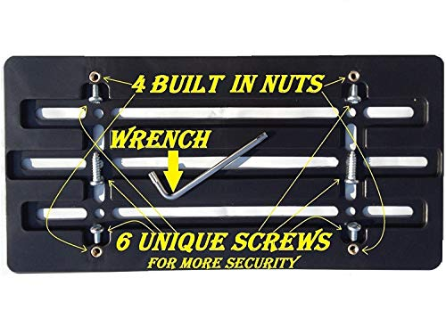 Trunknets Inc Universal Front Bumper License Plate Bracket + 6 Unique Screws and Wrench Kit - License Plate Attachment Kit