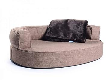 PadsForAll Cama para perros, perro Sofá Atlanta Softline poliéster marrón claro, resistente al