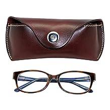 Boshiho Retro Cowhide Leather Reading Glasses Eyeglass Case Sunglasses Holder