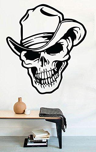FSDS Vinyl Wall Decal - Cowboy Skull in Hat Bones Death Halloween - Home Decor Sticker Vinyl -