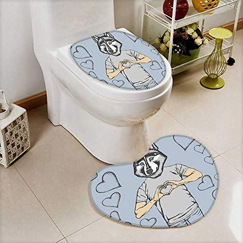 (Lid Toilet Cover Dog Faced Man at Valentines Hearts Romantic Love Display Slate Blue Grey Cushion Non-Slip)