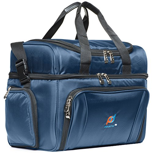 MOJECTO Large Cooler Bag. Two Insulated Compartment, Heavy Duty Fabric, Thick Insulation, 2 Heat Sealed Soft Peva Liner, Many Pockets, Strong Double Zipper, Padded Straps. For Men Women Compartment Chest
