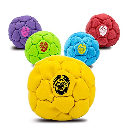 Best Hacky Sack and Footbag | No-Bust Stitching for Hard Kicking | 32 Panel Symmetry for Balance Tricks and Stalling | Professionally Hand-Stitched with Suede Material (Plastic/Metal, Yellow) ()