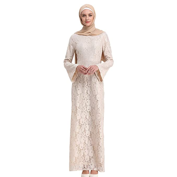 006e3a00d2 Women Muslim Dress Retro Floral Lace Slim Evening Cocktail Maxi Long Dress  Wedding Bridesmaid Dress Dubai Kaftan