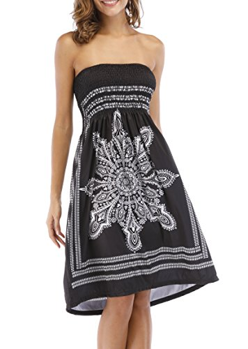 Zyyfly Women's Bathing Suit Cover-up Dress Casual Summer Dress Sexy Tube Dress Black ()
