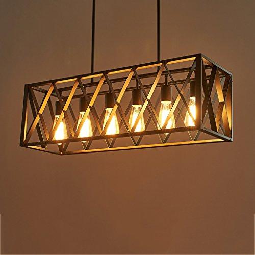 Modeen Estilo americano retro cuatro cabezas lampara de arana de restaurante de restaurante Vintage industrial creativo seis cabezas luces colgantes de techo negro Cocina comedor sala de almacenamient