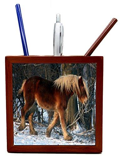 Wooden Pen Holder Brown horse