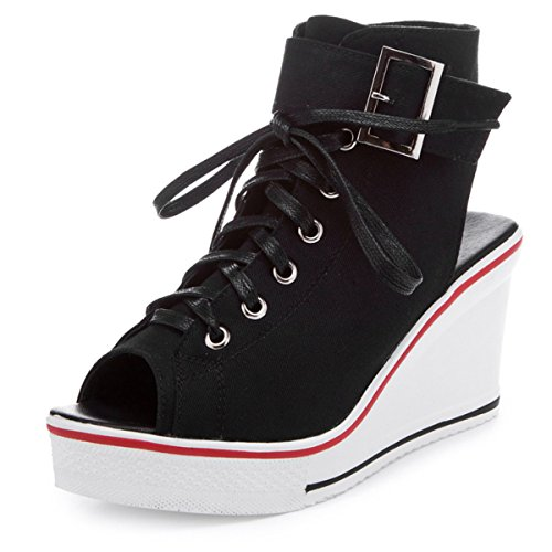 Chaussure Rose Talon Lacets Boot New Femme Fanessy Nouvelle Rouge Blanc Toile En D'été Mode Noir Fermeture Casual Sandales Éclair Compensé Baskets Ouvert Style BxZ0xPq