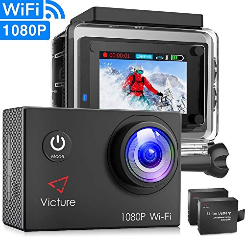 Victure Action Camera WiFi 1080P Full HD 12MP Underwater Cam 2 Inch LCD 170 Degree Wide-Angle 30M Waterproof Sports Camera with 2 Rechargeable 1050mAh Batteries and Mounting Accessories