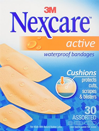 Nexcare Active Waterproof Bandages, Assorted Sizes, 30 Count (Pack of 3)