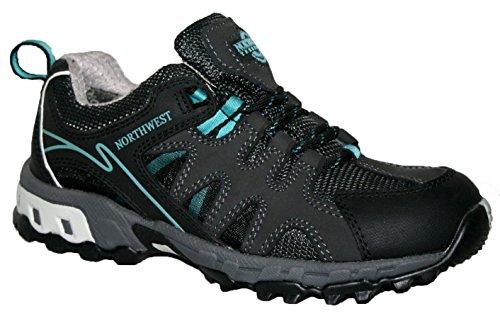 Ladies esperanza totalmente impermeable senderismo/senderismo cordones Trainer Shoe negro/azul