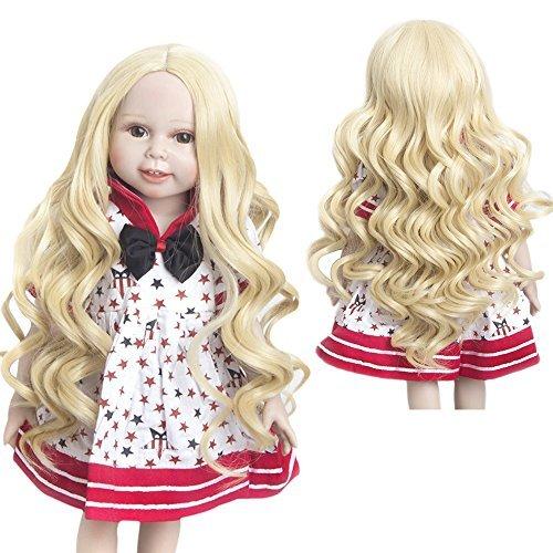 MUZI WIG Doll Hair Wig, Cedar Brown Doll Wigs Simulation Scalp Heat Resistant Hair for 18'' American Dolls (T1025)
