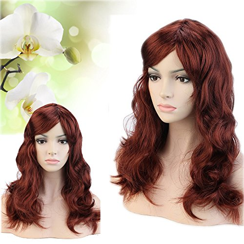 Hallowee Cosplay Must-have Long Wavy Big Wave Synthetic Wig + Free Cap with Oblique Bangs Multiple Colors for Anime Costume Theme Dancing Ball&Party under $10 on Sale (Dark - Mall Auburn