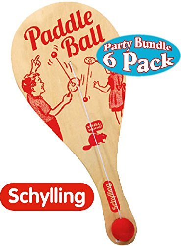 Schylling Classic Wooden Paddle Ball Game Party Favor Bundle - 6 (Classic Paddleball)