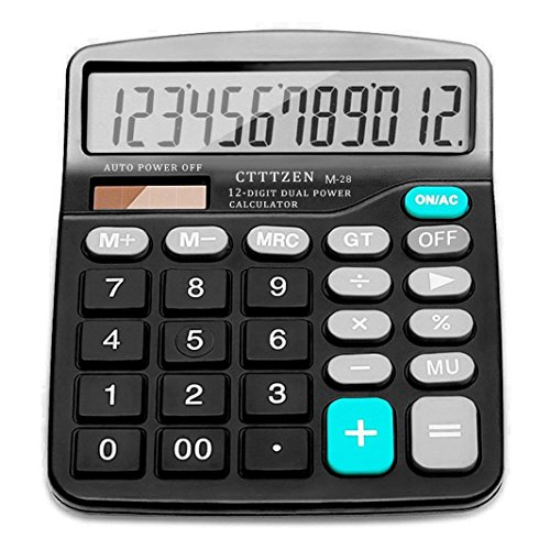 Solar Battery Basic Calculator,Solar Battery Dual Power with Large LCD Display Office Calculators by CloudWave (Black002) (Black002) ()