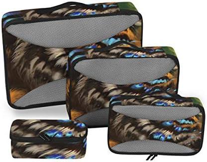 トラベル ポーチ 旅行用 収納ケース 4点セット トラベルポーチセット アレンジケース スーツケース整理 アニマル柄 タイガー バタフライ 収納ポーチ 大容量 軽量 衣類 トイレタリーバッグ インナーバッグ