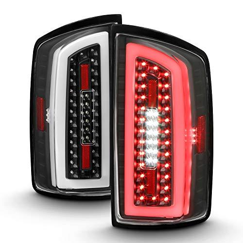 ACANII - For 2007-2008 Dodge Ram 1500 2500 3500 Full LED Tube Tail Lights Brake Lamps Black Housing Driver & Passenger