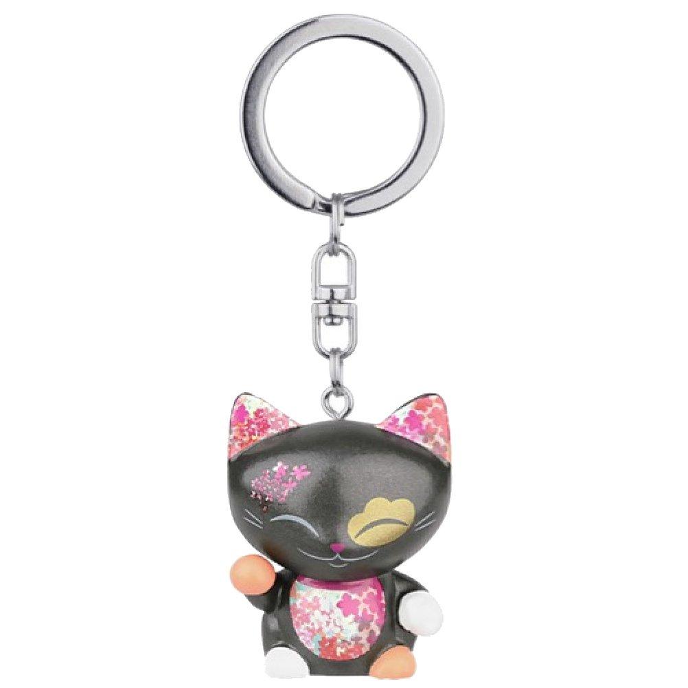 Porte clé chat porte bonheur Mani the Lucky Cat noir collier framboise