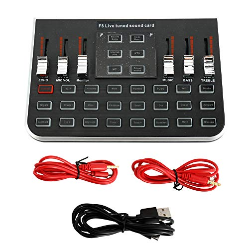 Patioer F8 4 Modes Studio Audio Mixer Microphone Webcast Entertainment Streamer Live Sound Card for Phone Computer PC