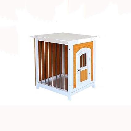 Lijin light Perrera Amarilla y Blanca Perrera Perro casa de Madera Maciza Perro pequeño Interior Que