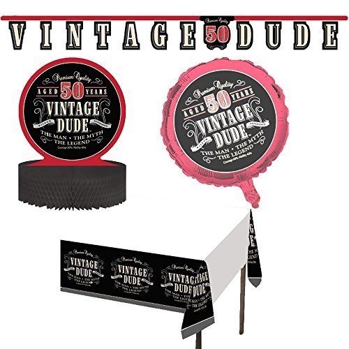 Vintage Dude Decoration Supply Pack Including Jointed Banner, Centerpiece, Balloon, and Tablecover