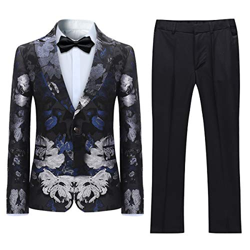(Boyland Boys Floral Suit Slim Fit Tuxedo Suits Jacquard Peak Lapel Black Tux Jacket Pants Party Formal Wear Black )