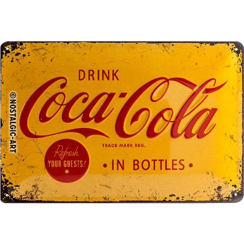 Coca Cola In Bottles (yellow b'ground) embossed steel sign (na 3020) by signs-unique (Coca Cola Tin Sign Nostalgic)