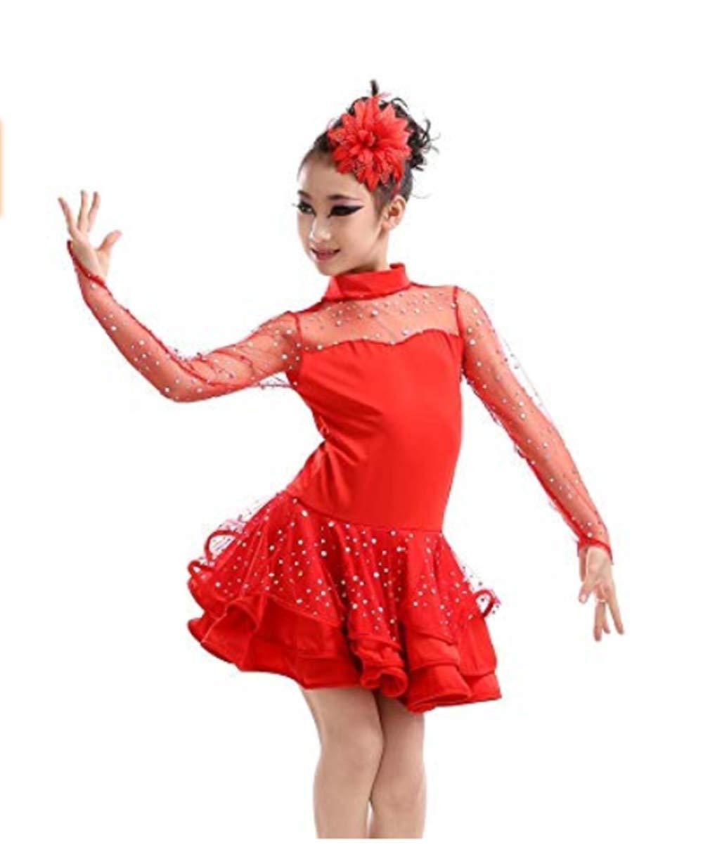 Fuyingda Vestito da Ballo Latino Rosso Salsa Ballo Latino Ballo Tango Costume Concorrenza Concorso Sequin Show Dance Dress Girls