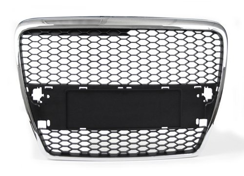 05 06 07 Audi A6 (C6, pre-facelift) Front Mesh RS-Style Grille Grill Chrome