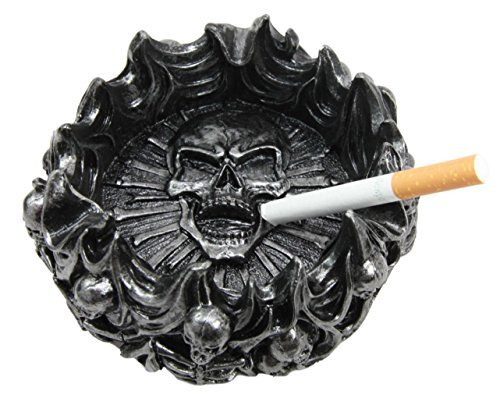 Atlantic Collectibles Arch Devil Skull Face Fire Hell Bone Spiral Cigaretter Ashtray Resin Figurine
