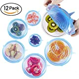 West Light Silicone Stretch Lids,12-Pack Various Sizes Reusable, Durable and Expandable Food Covers Lids,Keeping Food Fresh, Dishwasher and Freeze,Fit Various Size Shape of Containers Bowl and Cup