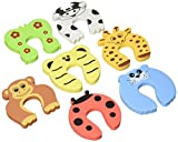 EasyLifeCare Children Safety Finger Pinch Cartoon Animal Foam Door Stopper Cushion, Bundled Carton Monster Baby Child Kid Animal Cushiony Finger Hand Safety Door Stop Guard Set, 7 Piece