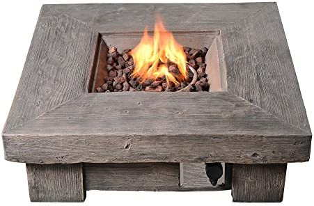 Peaktop HF11501AA Propane Gas Wood Look Square 40,000 BTU Fire Pit Table