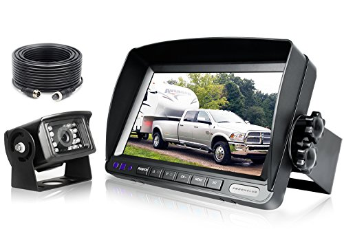 Backup Camera System Kit,SHARP CCD Chip, 100% Not Wash Up,IP69 Waterproof Rear View Camera + 7'' LCD Reversing Monitor For Truck/Semi-Trailer/Box Truck/RV (Wired – 7 inch) (ERY01 – 7 inch)