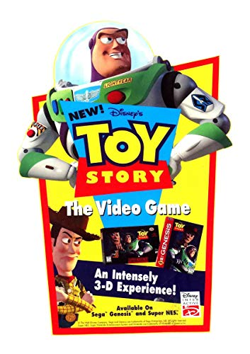 (Toy Story Sega Genesis Full Color Vinyl Toys R Us Cling Disney 1995)
