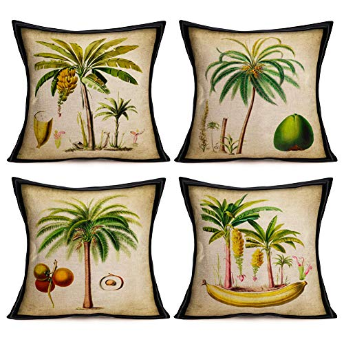 (Asamour Summer Tree Throw Pillow Covers 18''x18'' Set of 4 Hawaii Coconut Palm Banana Tree Green Leaf Cotton Linen Decorative Couch Cushion Cover Throw Pillow Case Home Sofa Bedding Decorative)