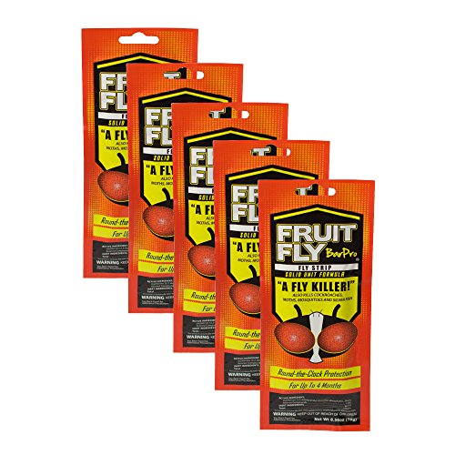 Fruit Fly BarPro Fly Strip - 4 Month Protection Against Flies, Cockroaches, Mosquitos & Other Pests - Portable for Indoor & Outdoor Use (5 Strips, Food Service Pack)