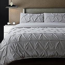 Bedsure Pintuck Duvet Cover Set Queen/Full Size Grey Pinch Pleat Duvet Cover 3 Pieces Bedding Set