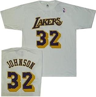 6e58b8bc1 adidas Los Angeles Lakers Magic Johnson White Pro Style Throwback Shirt