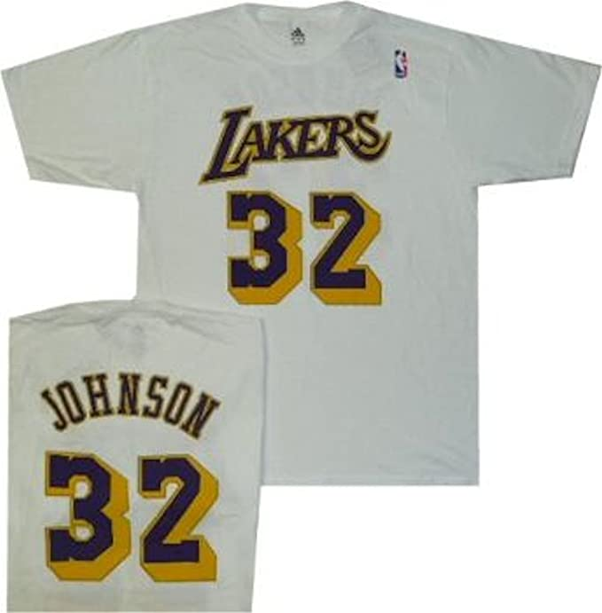 d5d729860f9 Amazon.com   adidas Los Angeles Lakers Magic Johnson White Throwback ...