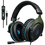 SADES PS4 Gaming Headset, Xbox One Headset Bass Surround, Soft Memory Earmuffs, Over Ear Headphones with Mic for Sony Playstation 4 PS4 Xbox one PC Laptop Mac Smartphones (Black &Blue)