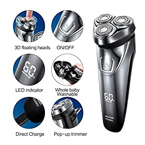 FLYCO Electric Razor Rotary Shaver for Men Cordless Rechargeable Shavers Mens Close Cut Wet & Dry Razors with Pop-up…