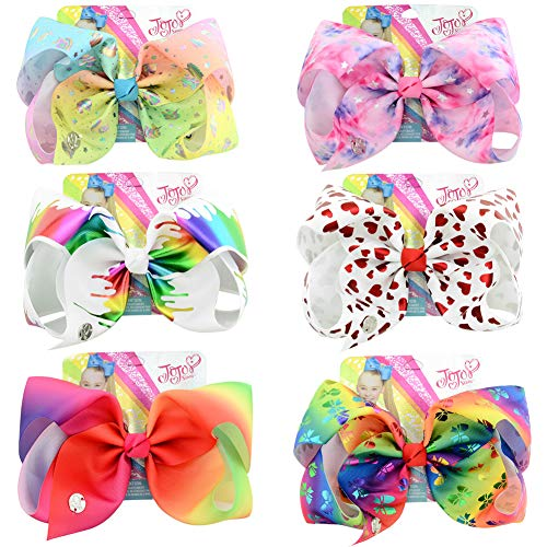 8 Inches JOJO Siwa Hair Bows Alligator Clips for Girls 6pcs Large Bows Hair Barrettes Accessories for Toddler Teens Kids